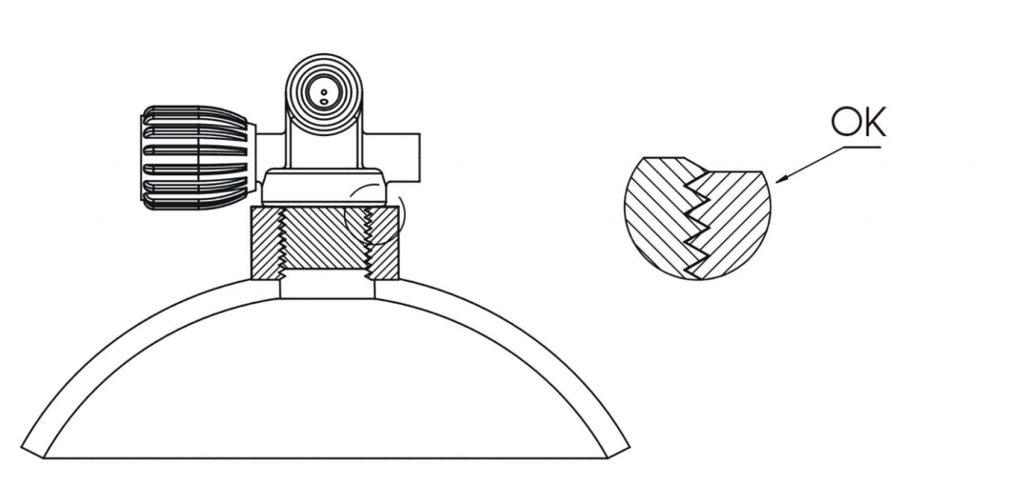 Ispravan dosjed ventila u navoju na boci - dosjed ventila M25x2 u ronilačku bocu s navojem M25x2 gdje su profili navoja ventila i boce dosjeli pravilno jedan u drugoga te je zračnost vijčanog spoja unutar dozvoljene tolerancije od 0,4 milimetra pa spoj pravilno drži i može podnijeti silu preko 9 kN (900 kgf) pri tlaku od 200 bara koja djeluje na ventil i gura ga van navoja u boci