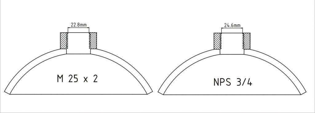 """Navoji ¾""""NPS i M25 x 2 vrlo su slični navoji sa sličnim korakom i istim kutom profila navoja 600, a razlika je u promjeru navoja od 1.8 milimetara"""